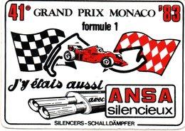 """MONACO -- AUTOCOLLANT Plastique -- 41 ° Grand Prix MONACO 83 -- Formule 1 """" ANSA Silencieux """" - Voitures (Courses)"""