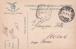 FRANCHIGIA MILITARE - 4 REGGI.ALPINI, BATTAGLIONE LEVANNA - CORRSP. DEL R. ESERCITO DESTINAZIONE PER AZZATE (VARESE ) - 1900-44 Vittorio Emanuele III