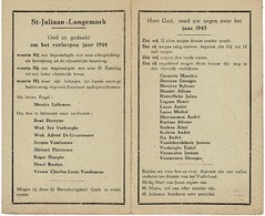 St. Juliaan - Langemark 1944 - 1945  Gedachtenis Overleden Parochianen - Décès