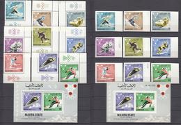 Mahra 1967 Mi # 39-47AB Bl 4 AВ Grenoble Winter Olympics MNH OG - Winter 1968: Grenoble