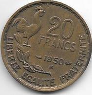 France 20 Francs 1950 B  Georges Guiraud Km 916.2  Vf+ - France