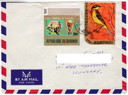 M439 Burundi Lettre 20f Football 1974 Soccer 8f Oiesau Bird Timbres - 1970-79: Oblitérés