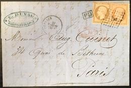 Lettre 1864 Napoléon N°21 & 23 Obl Ancre Et Dateur Du Paquebot Vapeur Dupleix De Constantinople Pour Paris Signé Baudot - 1853-1860 Napoleon III