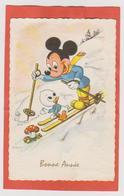 847 _ MIGNONETTE BONNE ANNEE . MIGKEY PETIT DONALD EN SKIS . CHAMPIGNONS. W.D.P. - Disneyworld