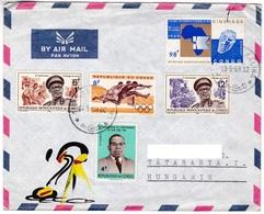M444 Congo Lettre Kinshasa 1969 Affranchissement Mixte Olympic Diamant Timbres - Oblitérés