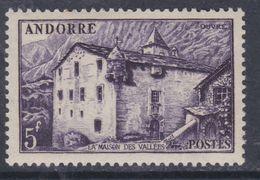 Andorre N°  124  XX Armoiries Et Paysages, Partie De Série : 5 F. Violet Sans Charnière, TB - Andorre Français