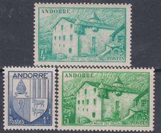 Andorre N°  119 + 121 + 123 XX Armoiries Et Paysages, Partie De Série :  Les 3 Valeurs Sans Charnière, TB - Andorre Français
