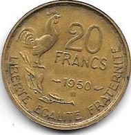 France 20 Francs 1950 B   G. Guiraud  4  Plumes Km 917.2   Vf+ - Francia