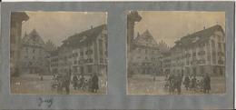 Photo Stéréoscopique - Suisse - Canton De Zoug - Zug - Hôtel - Animée - Photos Stéréoscopiques