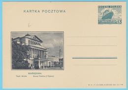 J.M.24 - Pologne - Entier Postal - N° 38 - Compositeur - Opéra - Grand Théâtre - Bateau - Musique