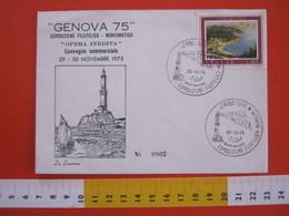 A.09 ITALIA ANNULLO - 1975 GENOVA FARO LA LANTERNA ESPOSIZIONE FILATELICA OPERA INEDITA ARCHITETTURA - Fari