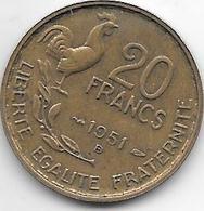 *france 20 Francs 1951 B   G. Guiraud  4  Plumes Km 917.2   Xf - France