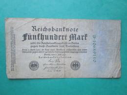 · Billet, Allemagne, 500 Mark  -  Ft: 17,5 X 9 Cm - 1922 - [ 3] 1918-1933 : Repubblica  Di Weimar