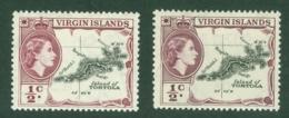 British Virgin Is: 1956/62   QE II - Pictorial   SG149 / 149a   ½c    Reddish-purple And Deep Reddish-purple   MH - British Virgin Islands