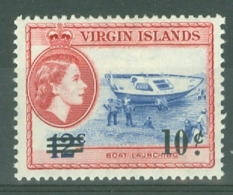 British Virgin Is: 1962   QE II - Pictorial - Surcharge  SG168   10c On 12c    MH - British Virgin Islands