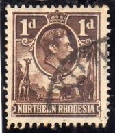 NORTHERN RHODESIA NORD RODESIA 1938 1952 KING GEORGE VI 1p RE GIORGIO USATO USED OBLITERE' - Rhodesia Del Nord (...-1963)