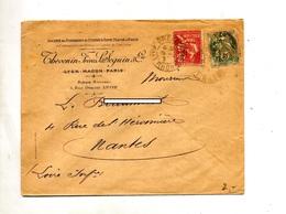 Lettre Cachet Lyon Sur Mouchon  Blanc Perforé - Marcophilie (Lettres)