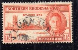 NORTHERN RHODESIA NORD RODESIA 1946 KING GEORGE VI 1 1/2d P RE GIORGIO VICTORY USATO USED OBLITERE' - Rhodesia Del Nord (...-1963)