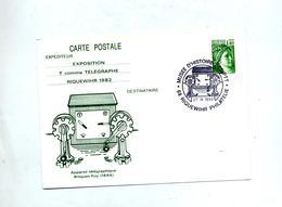 Carte Postale 1.4 Sabine Cachet Riquewihr Musee Illustré Telegraphe Breguet Foy - Entiers Postaux