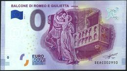 Zero - BILLET EURO O Souvenir - BALCONE DI ROMEO E GIULIETTE Verona 2018-1set UNC {Italy} - EURO