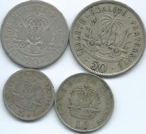 Haiti - 5 (1906 - KM53); 10 (1906 - KM54) 20 (1907 - KM55) & 50 Centimes (1907 - KM56) - Haïti