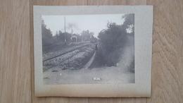 3 EME PHOTO COLLEE SUR CARTON - SEMUR EN AUXOIS 21 COTE D'OR - GARE - TRAIN - Lieux