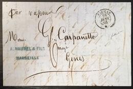 Lettre ST De Marseille Janv 1863 Pour Gènes Du Paquebot Vapeur Vatican + Taxe Manuscrite 6 Decimes RR Signé Baudot - Marcophilie (Lettres)