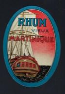 """étiquette Rhum  Vieux  Martinique  """"bateau""""  Imp Nolasque Bordeaux étiq Vernie - Rhum"""