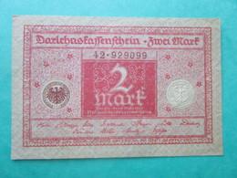 Billet, Allemagne, 2 Mark  -  Ft: 10 X 6,5 Cm - 1920 - [ 3] 1918-1933 : República De Weimar