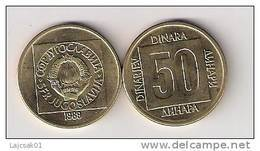 Yugoslavia 50 Dinara 1989. Extremely Rare Year KM#133  High Grade - Yougoslavie