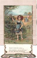 Chromo, Victorian Trade Card. AU BON MARCHE. Fable, La Cigale Et La Fourmi. Litho Verger VER 8/4 - Au Bon Marché