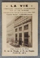 Rare Et Ancien Calendrier De Poche 1936 La Vie Compagnie D'assurance 21 Rue De L'Arcade Paris 8 Eme Photo Rue Immeuble - Calendriers