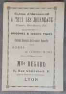 Rare Document Commercial Début 20 Eme Mlle Regard 11 Rue Childebert Lyon Broderie Dessins Robes Confections - France