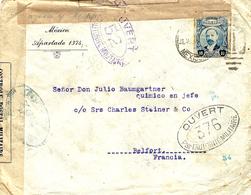 WWI - Enveloppe De Mexico Pour Belfort - Censures 52 Et 376 - - Oorlog 1914-18