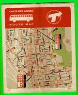 CARTES ROUTIÈRES - CARTES DES LIGNES COMMISSION DE TRANSPORT DE MONTRÉAL EN 1963 - - Cartes Routières