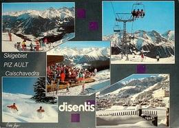 DISENTIS Ski-Gebiet Piz Ault Caischavedra Sesselbahn Stempel Bahnpost Rhät. Bahn - GR Grisons