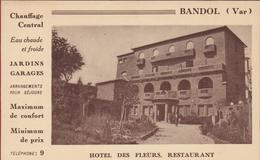 """Bandol (Var) Hotel Des Fleurs """"Publicité Du Restaurant"""" (En Très Bon Etat) - Hotels & Restaurants"""