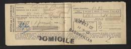 De Badonviller à Reims Récépissé Pour Le Destinataire Cachet SNCF EST 1942 - Railway