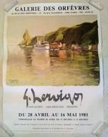 AFFICHE ANCIENNE ORIGINALE EXPOSITION G. HERVIGO Galerie Des Orfèvres Paris 1er 1981 - Fare Huahine Polynésie - Affiches