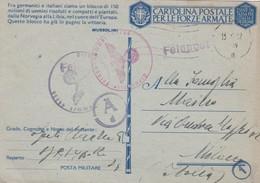 FRANCHIGIA - CARTOLINA POSTALE PER LE FROZE ARMATE - DESTINAZIONE MILANO - 1900-44 Vittorio Emanuele III