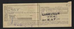 De Lunéville à Reims Récépissé Pour Le Destinataire Cachet SNCF EST 1941 - Railway