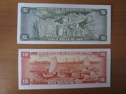 2 Billets, PEROU, - 10  Oro 1975 Et 5 Oro 1972 -  Ft: 16 X 7 Cm - - Pérou
