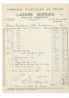 Facture 1937 Pêche Paris 20 LAZARE BORDES Rue De La Mare TB 270 X 205 Mm 2 Plis D'angles - France