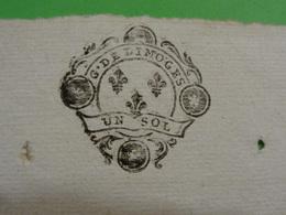 23 Janvier 1756 Généralité De Limoges (Haute-Vienne) N°237 Feuille De UN SOL Belle Frappe Lys - Cachets Généralité