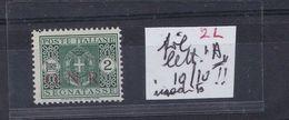 ITALIA 1944 RSI GNR 2 Lire Segnatasse Fifigrana Lettera A Firmato Caffaz RARO !!!! - 4. 1944-45 Social Republic