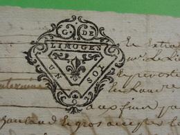 7 Janvier 1758 Généralité De Limoges (Haute-Vienne) N°247 Feuille De UN SOL Belle Frappe Lys - Cachets Généralité