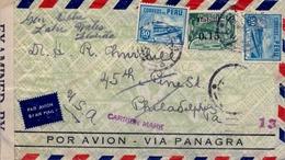 "1942 , PERÚ , SOBRE CIRCULADO POR AVION VIA PANAGRA , CENSURADO , LIMA - PHILADELPHIA , MARCA "" CARRIER MARK "", LLEGADA - Perú"