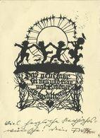 AK Georg Plischke Kinder Neujahr + Spruch Schattenriss 1934 #2512 - Scherenschnitt - Silhouette