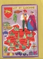 2082 **LE LOT  Et GARONNE * Blason Guyenne * Carte Signée Françoise Dague * Edit Theojac**(recto-verso) - Cartes Géographiques