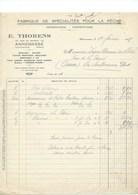 Facture 1938 Pêche E. THORENS Annemasse Route De Genève TB 210 X 270 Mm - France
